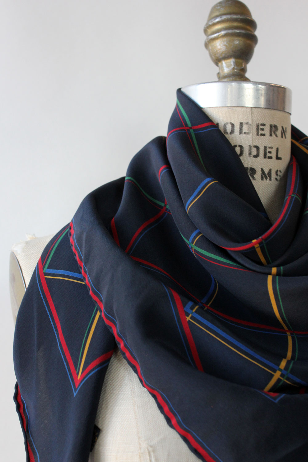 Primary Grid Silk Scarf