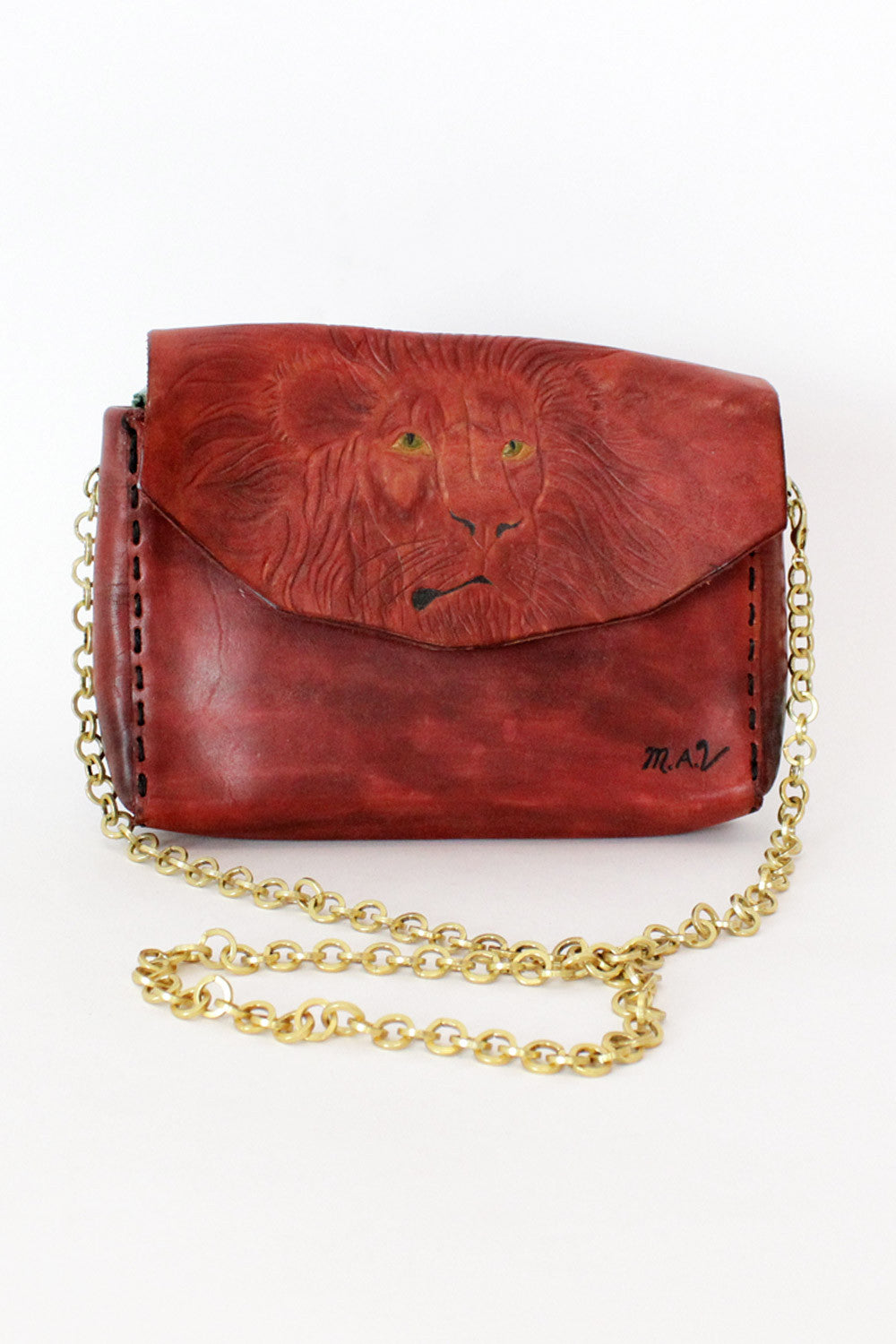 red tooled leather purse