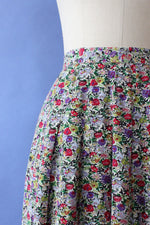 Sketchy Floral Rayon Skirt L