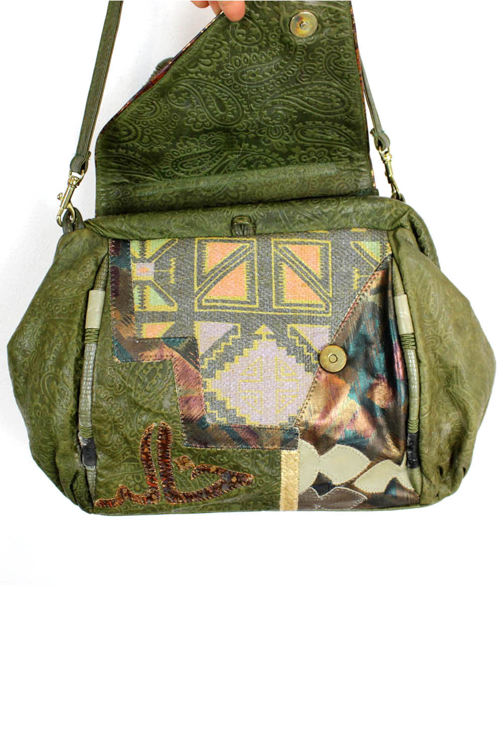 green tribal bag