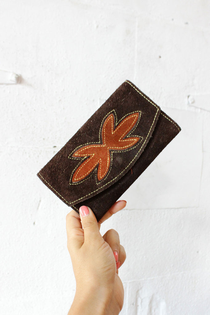 Suede Leaf Wallet