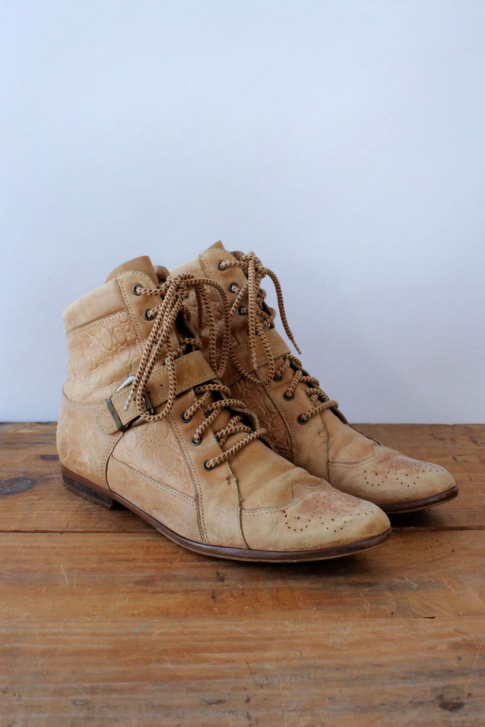 Textural Tan Leather Booties 8.5-9