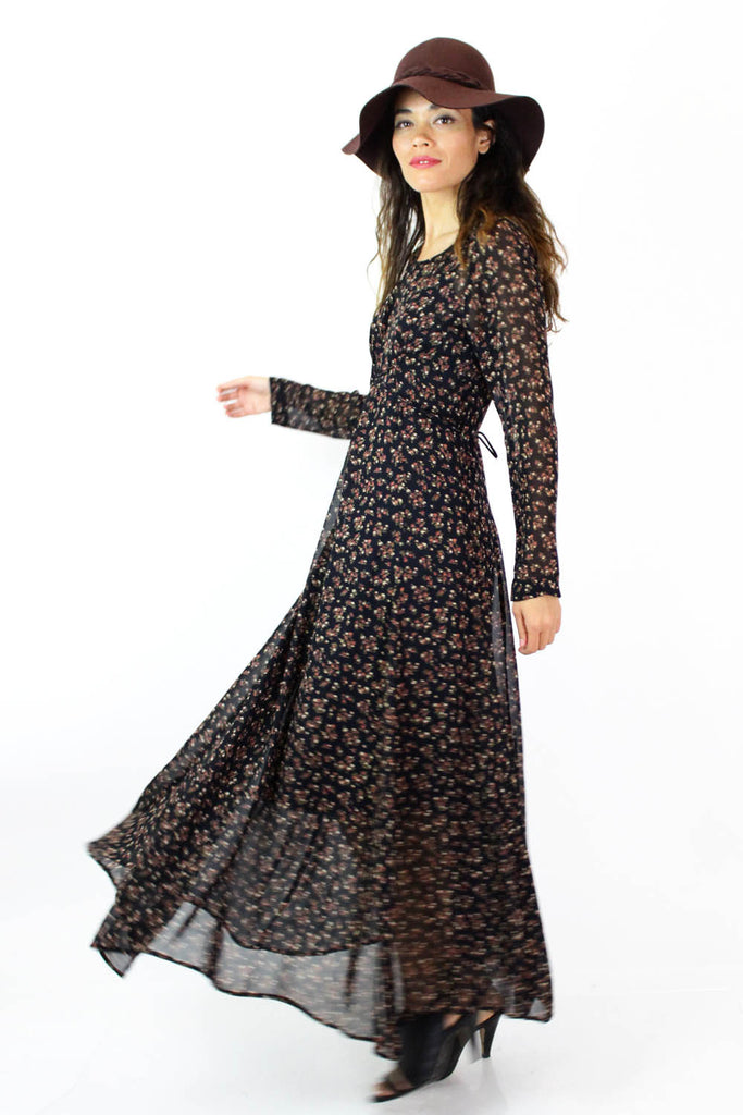 Micro Floral Full Sweep Maxi Dress S/M