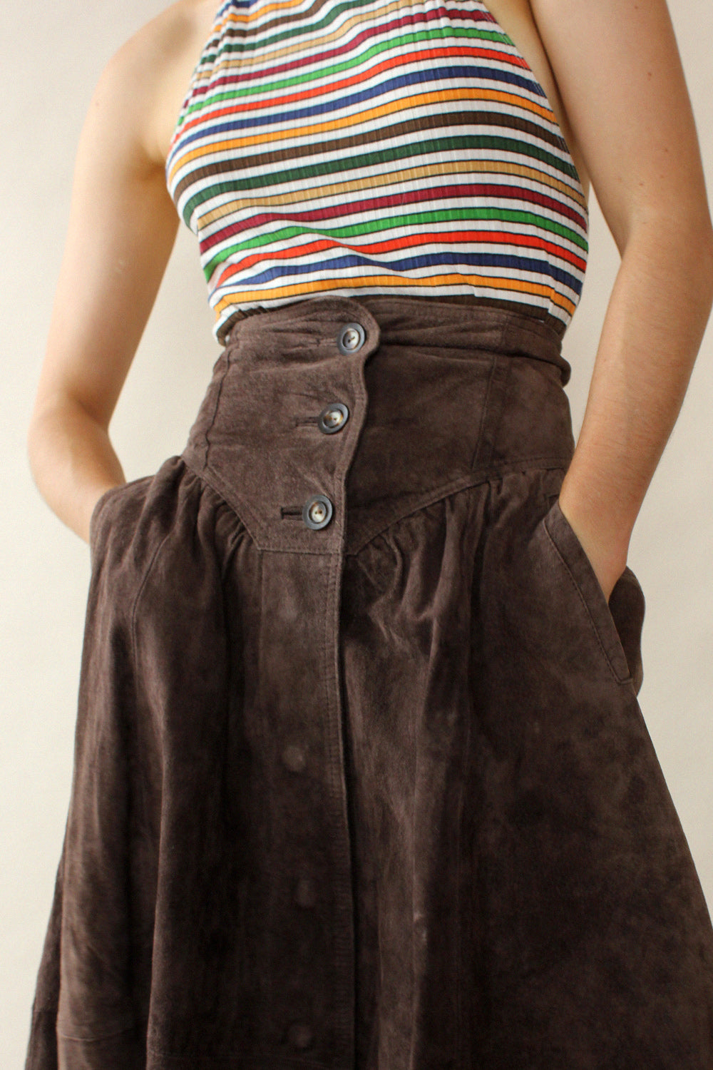 Chocolate Suede Dirndl Skirt XS