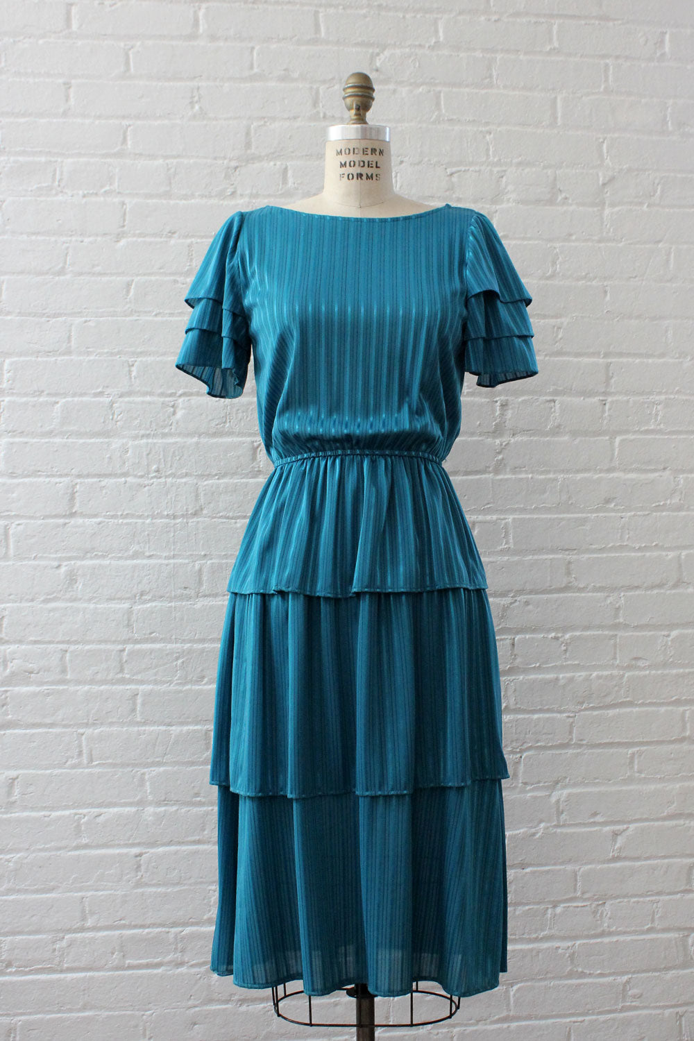 Teal Stripe Tiered Dress XS-M