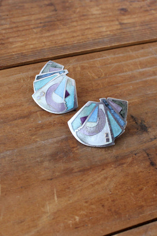 Pastel Shell Butterfly Screw Earrings