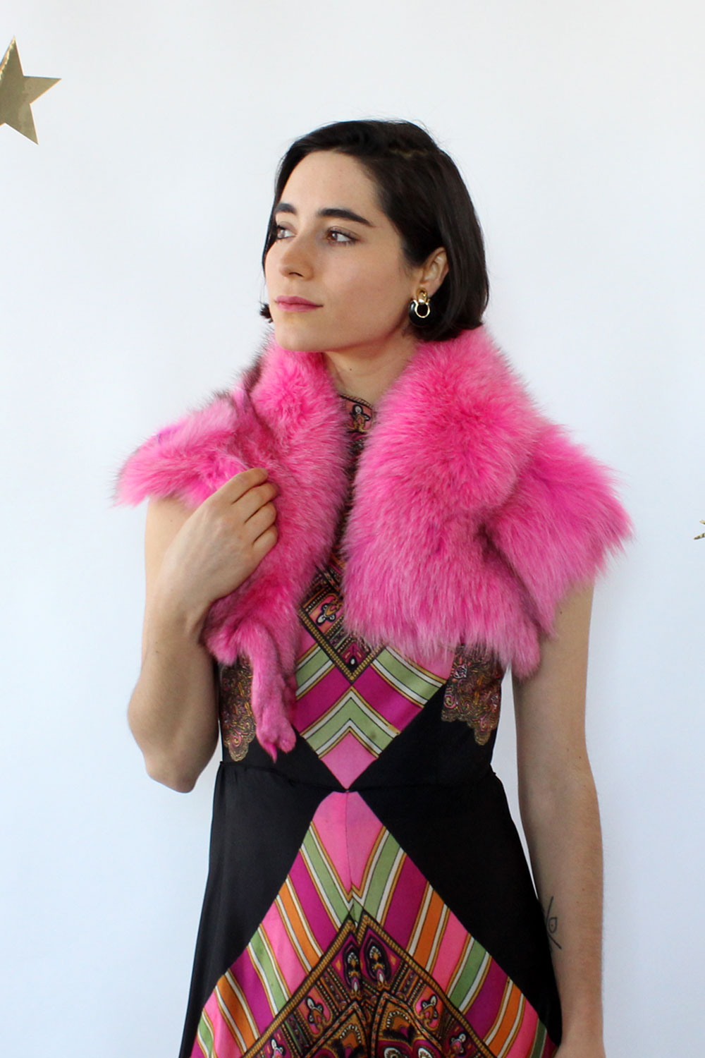 Hot Pink Fox Fur Stole