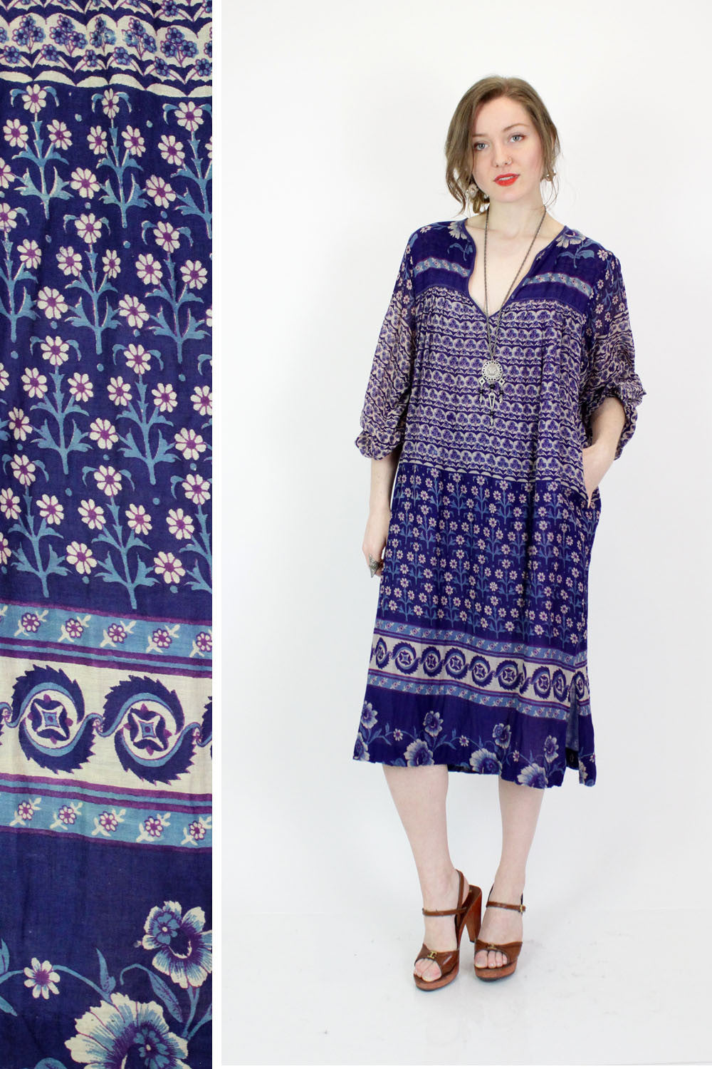 Inky Blue Floral Indian Cotton Dress