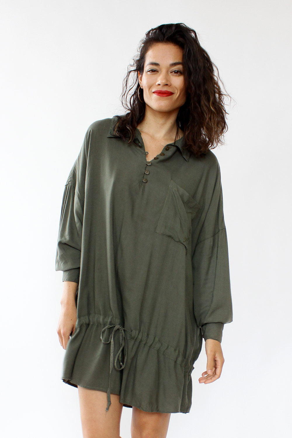 Olive Slouch Pool Dress