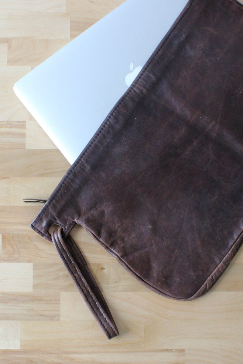 Thick Leather XL Slouchy Clutch