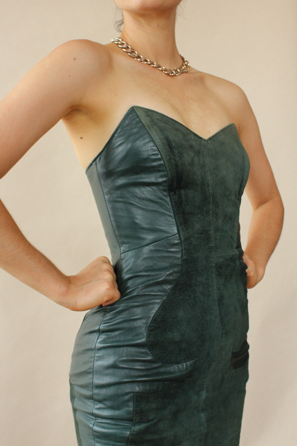 North Beach Leather Bustier Dress XS