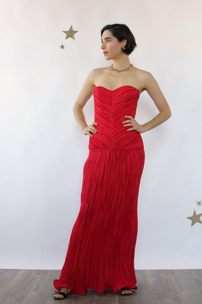 Lipstick Red Plissé Pleat Gown S