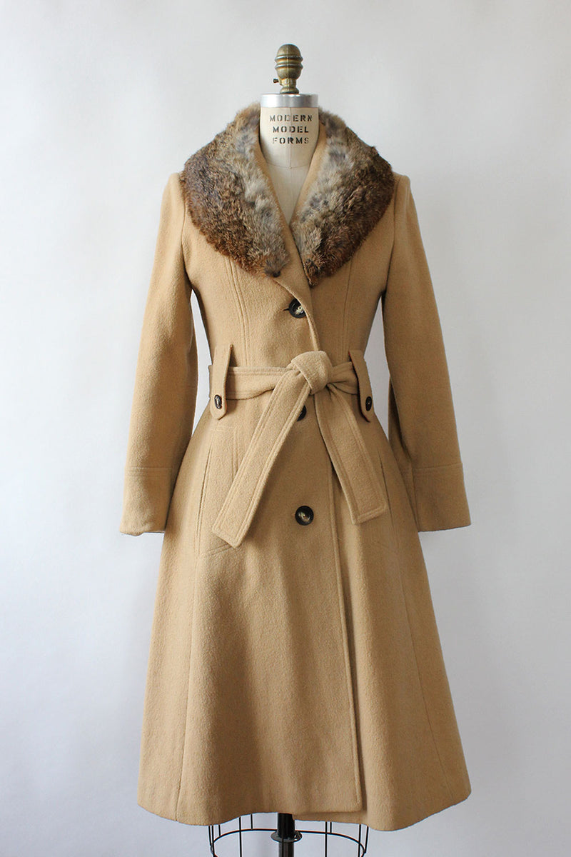 Camel Fur Collar 70s Coat XS/S