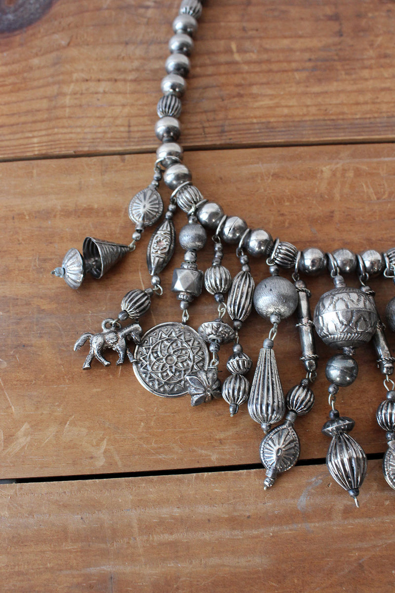 Pewter Charm Bib Necklace