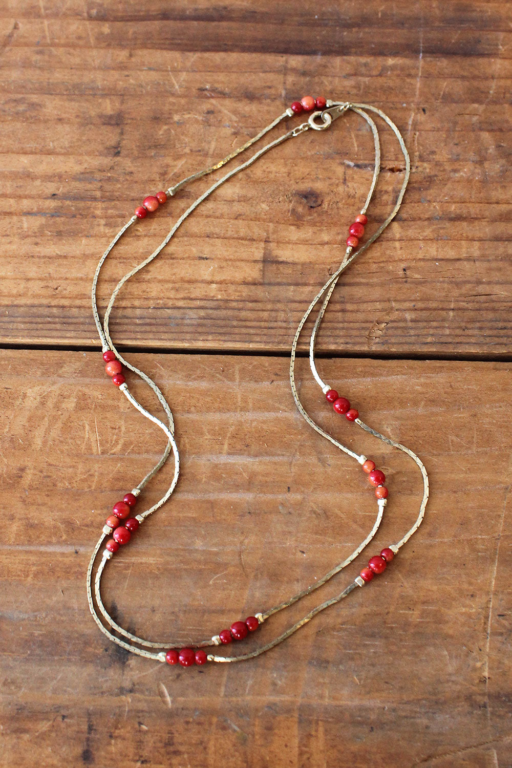 Delicate Red Bead Golden Chain Necklace