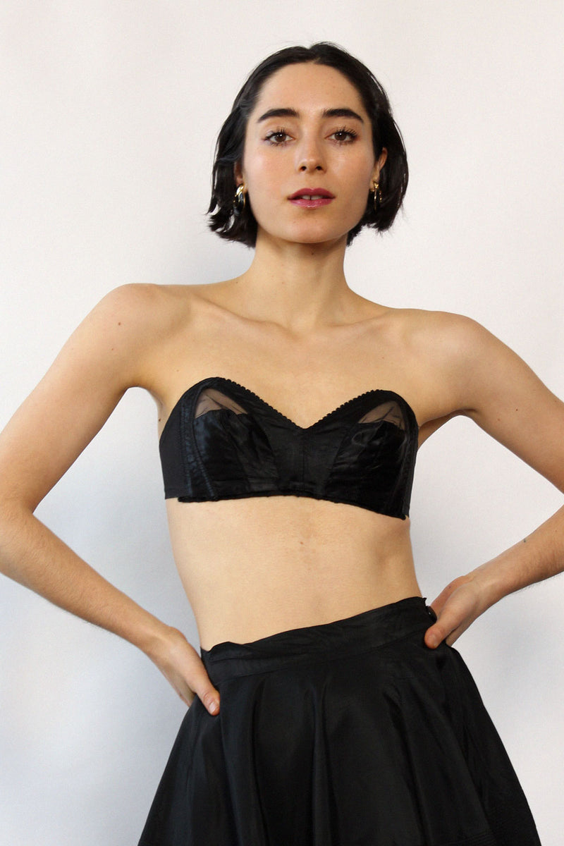Black Satin 1950s Strapless Bra