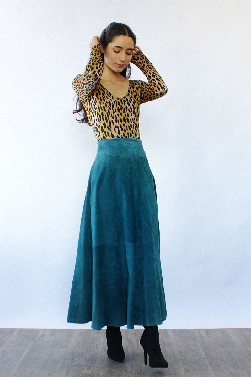 Teal Suede Flare Skirt XS-M