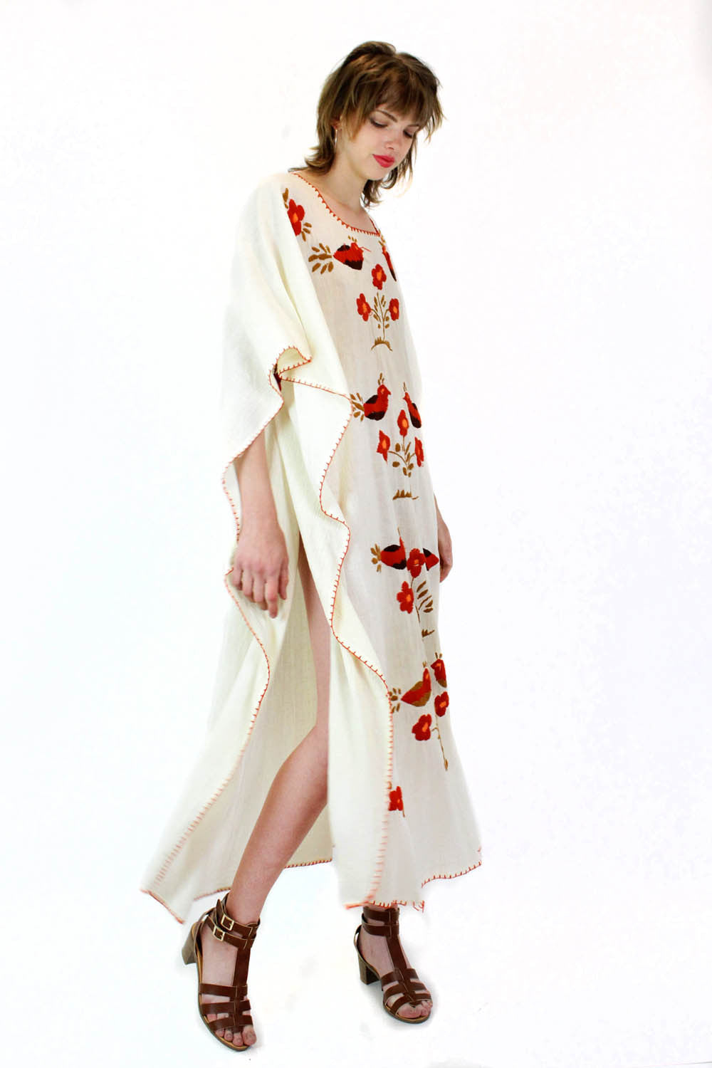 Embroidered Birds Caftan