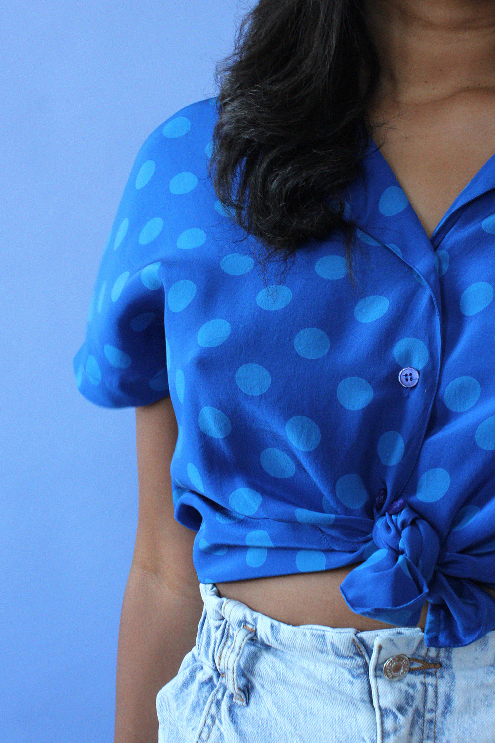 Cobalt Silk Dot Blouse M/L