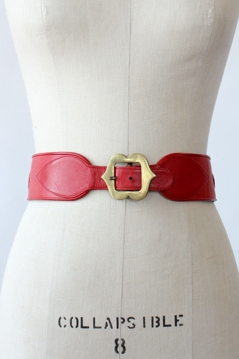 Ruby Leather Brass Medallion Waist Belt
