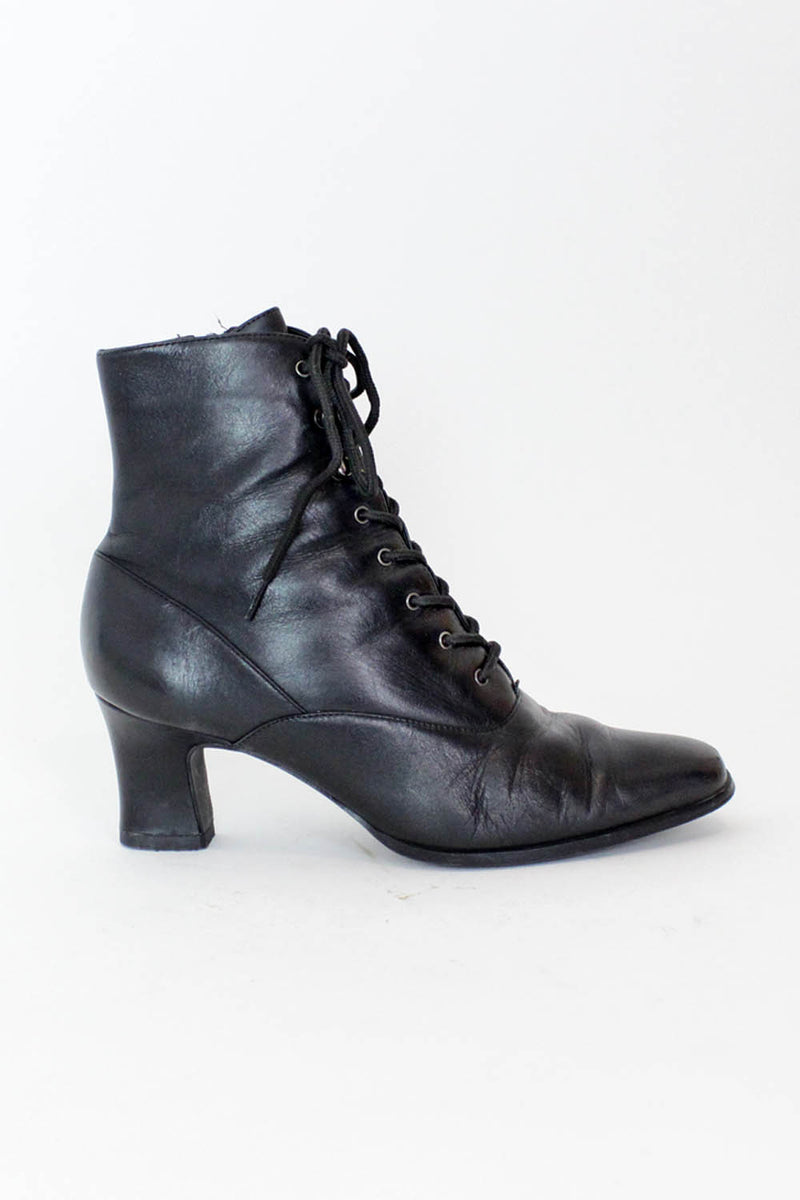 Black Lace Up Heeled Boots 8