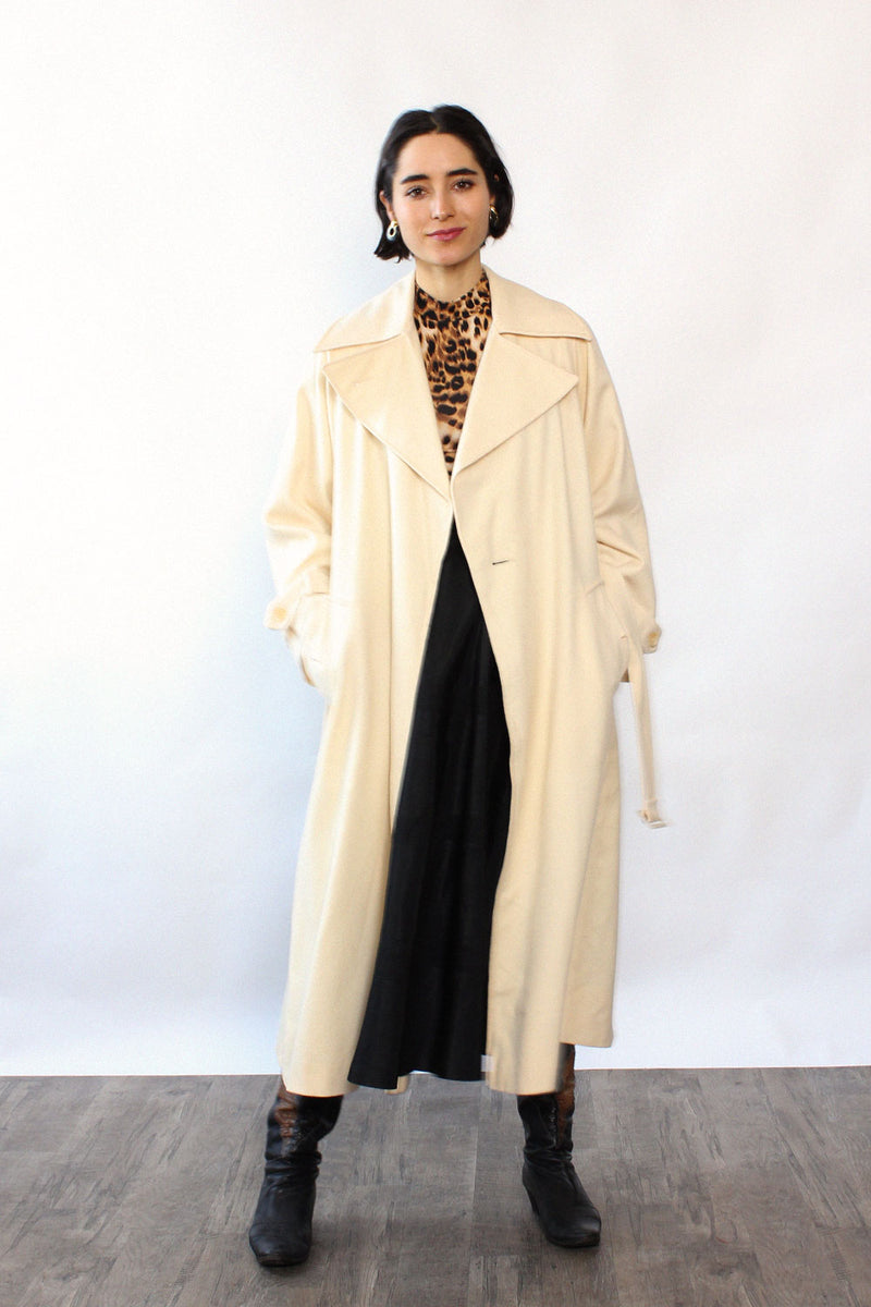 Ivory Wool Wrap Trench S/M