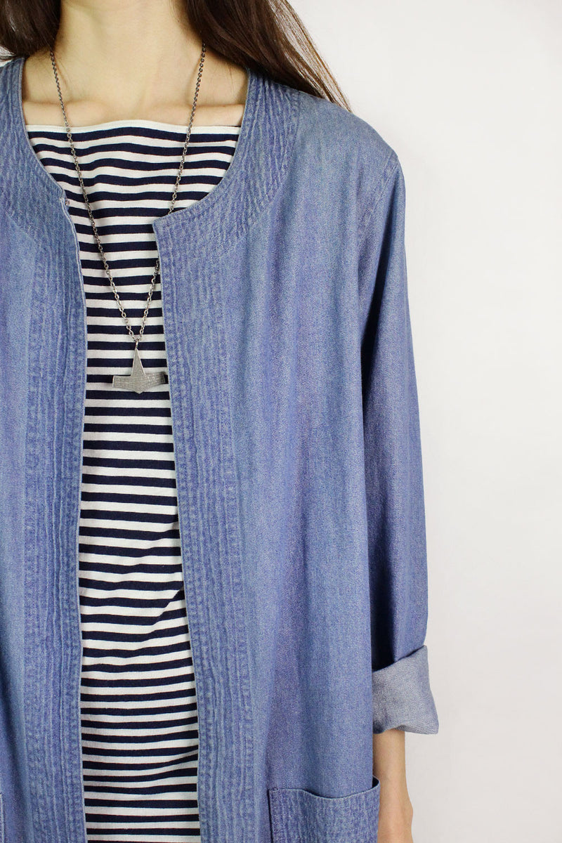 Denim Duster Coat L