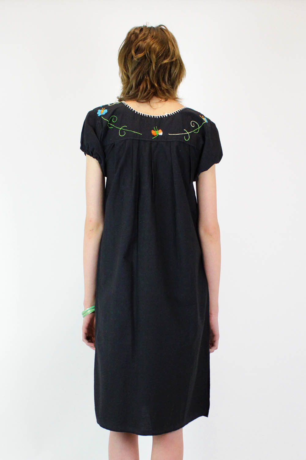Mexican Embroidered Smock Dress S
