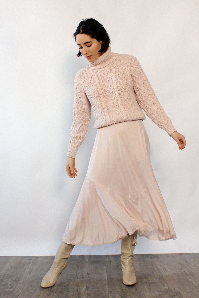 Blush Cable Turtleneck Sweater XS-M
