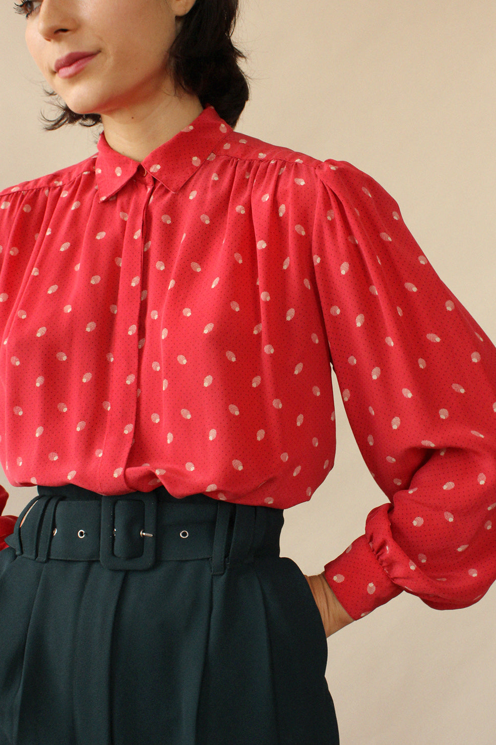 Strawberry Silk Paris Blouse S/M