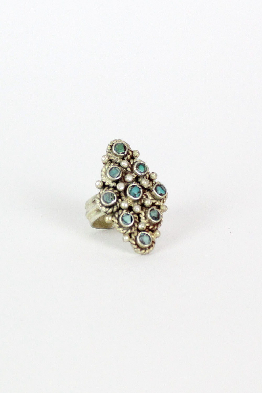 Turquoise Chip Shield Ring