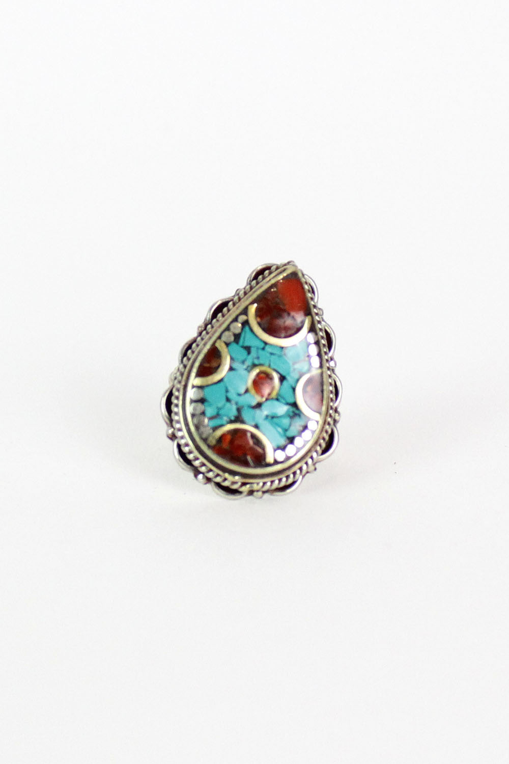 Teardrop Turquoise Chip Ring