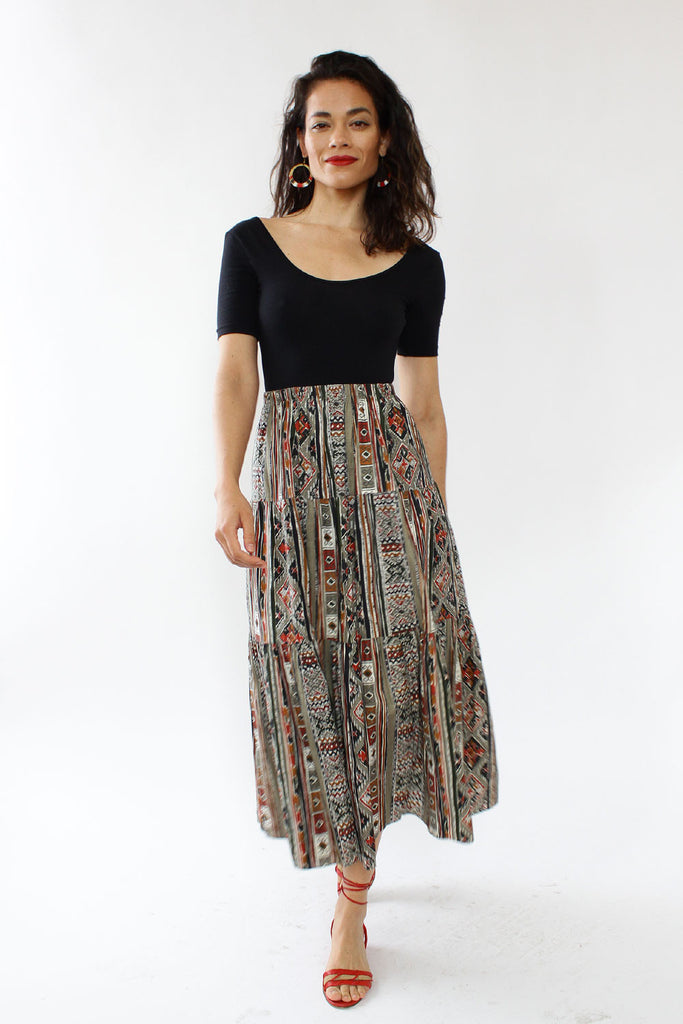 Ikat Tiered Skirt M/L
