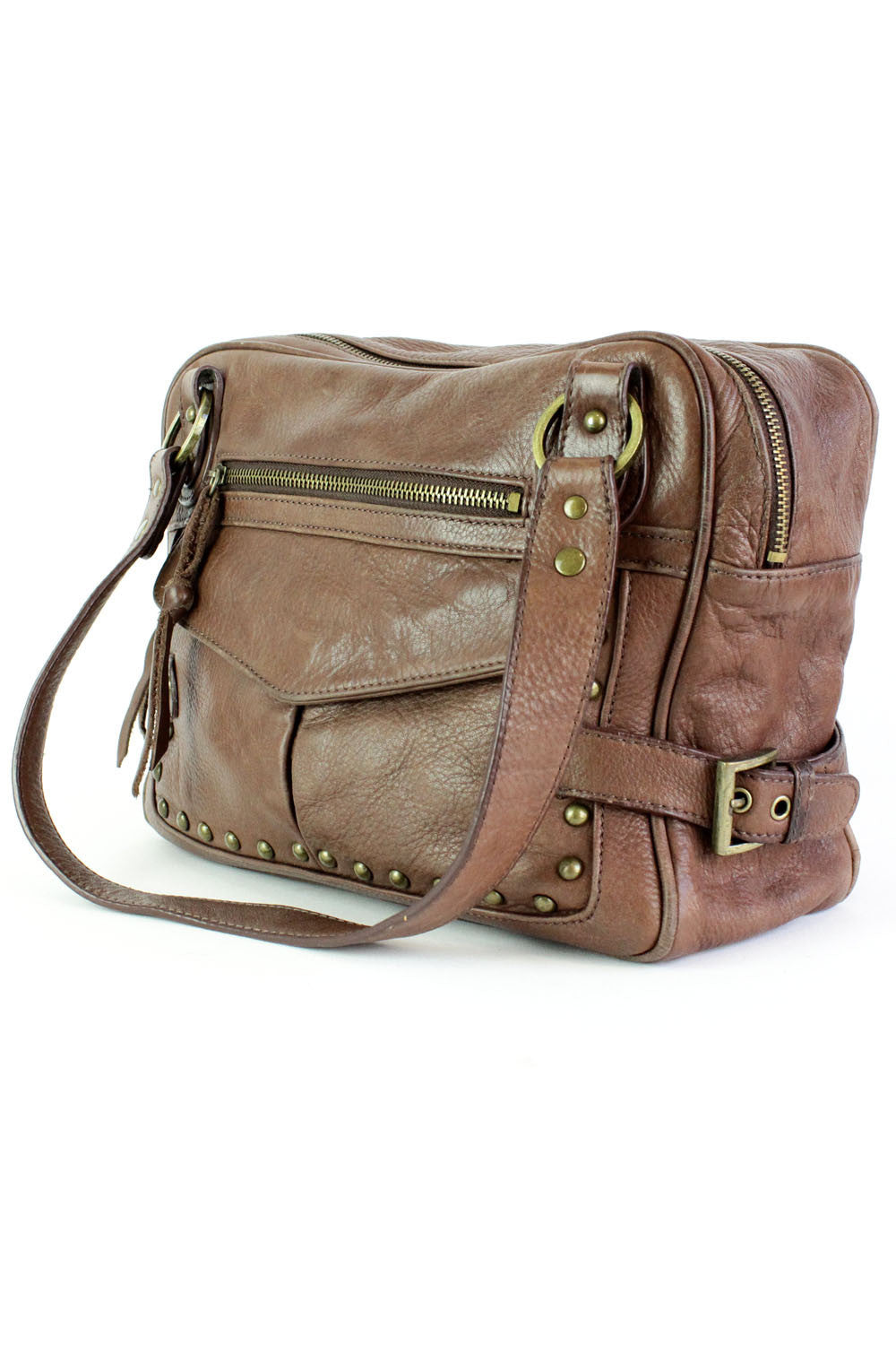 brown leather large handbag