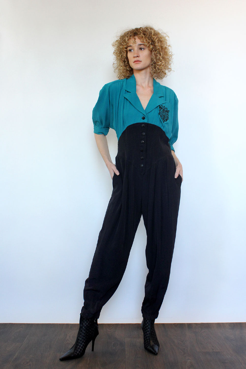 Teal Two Tone Jumpsuit M