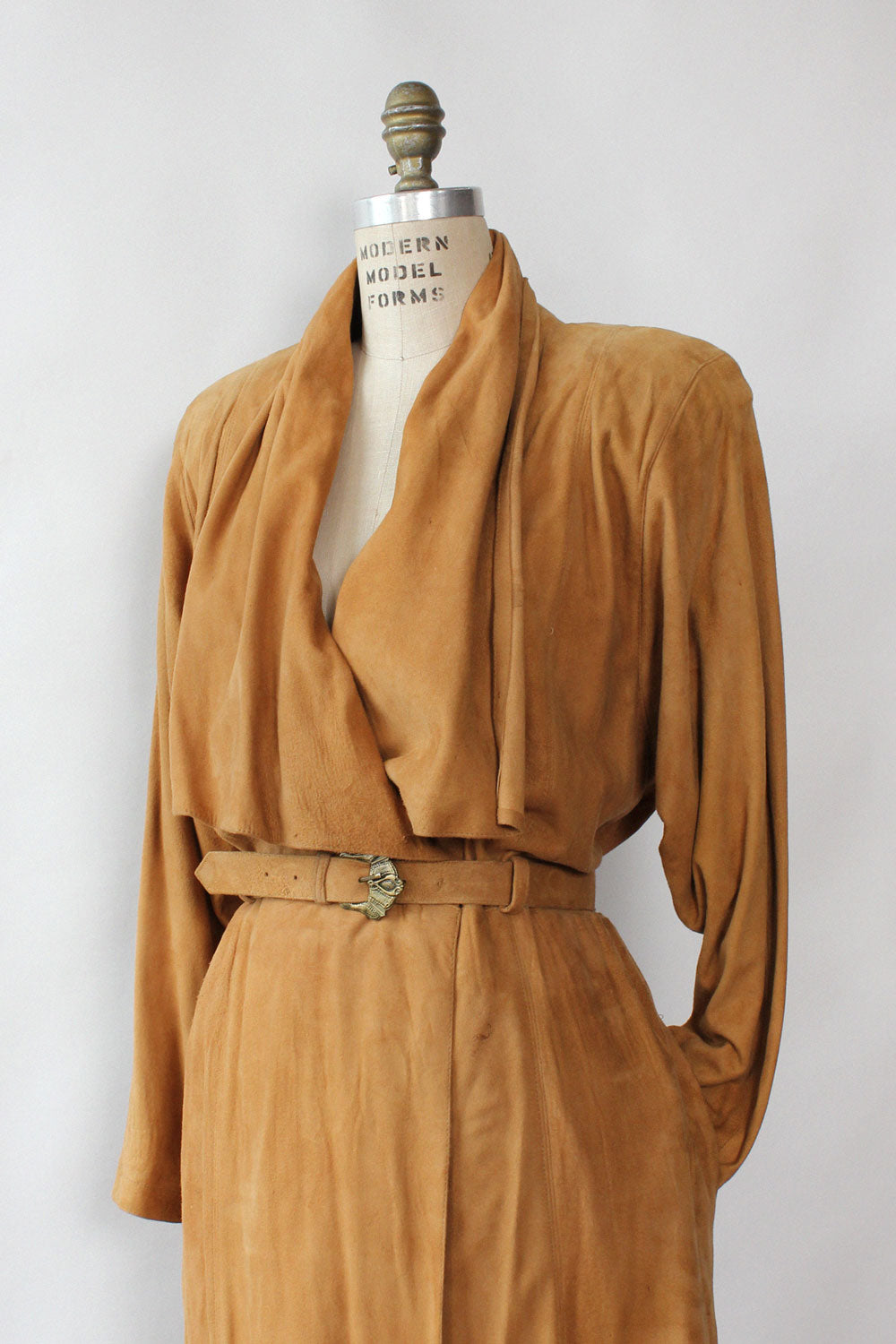 Draped Suede Duster Dress M/L