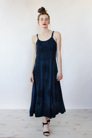 Indigo Embroidered Maxi Dress