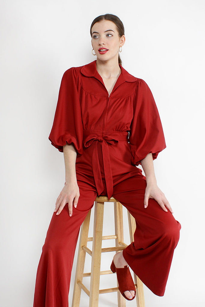 Maroon Bell Jumpsuit S/M