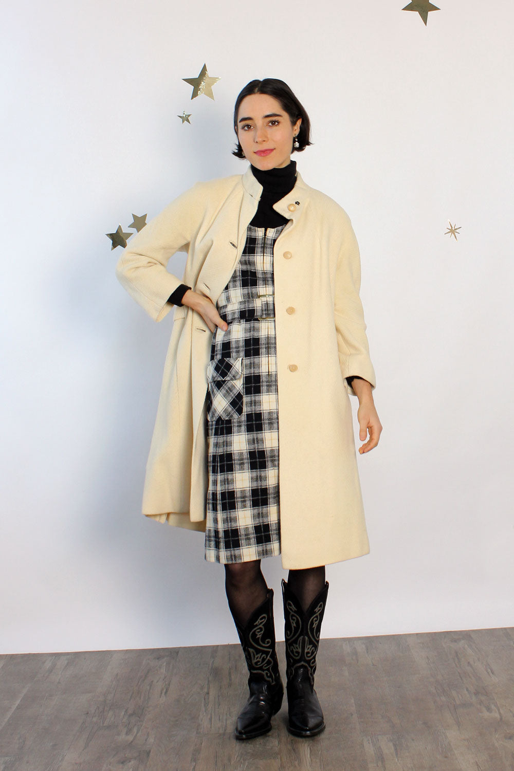 Buttercream Mockneck Button Coat S