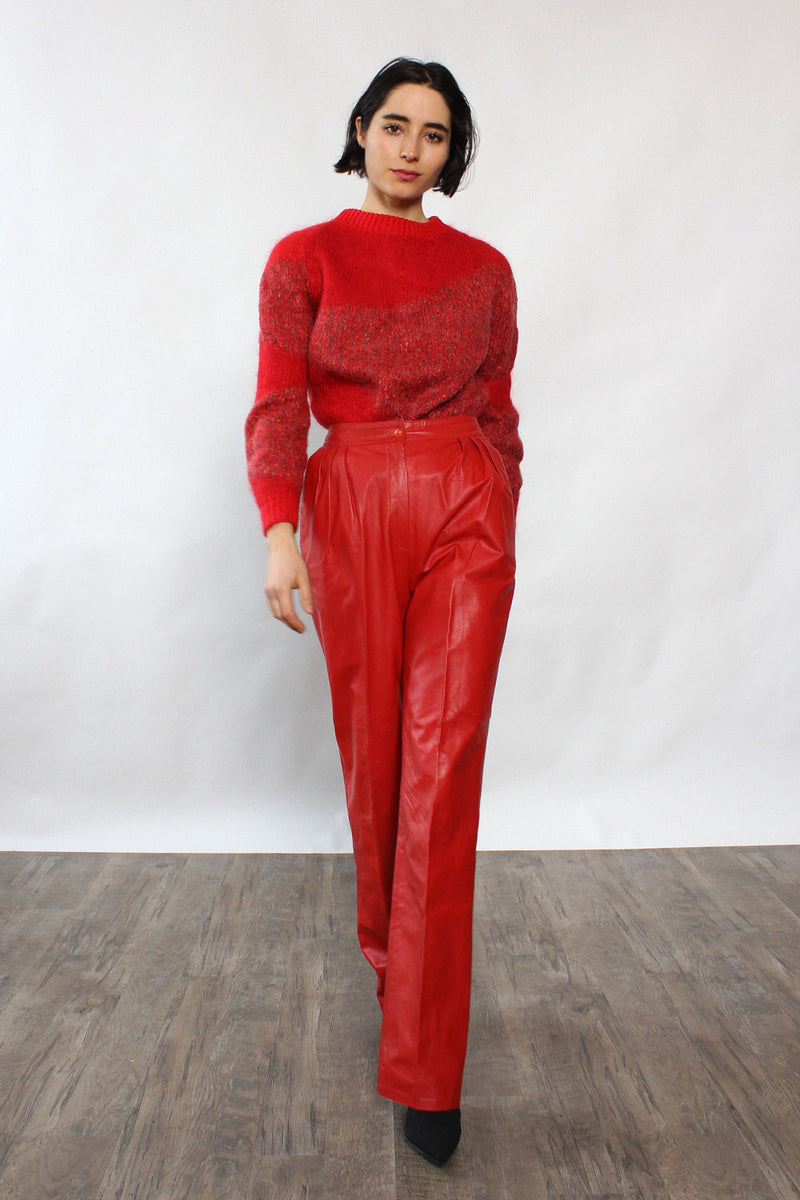 Vakko Cherry Leather Trousers XS/S