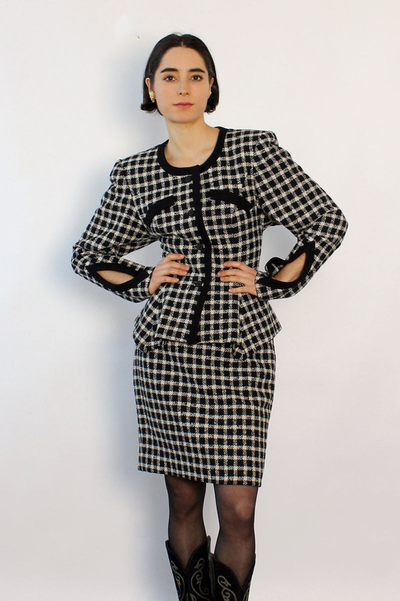 Checkered Hourglass Cutout Suit XS/S