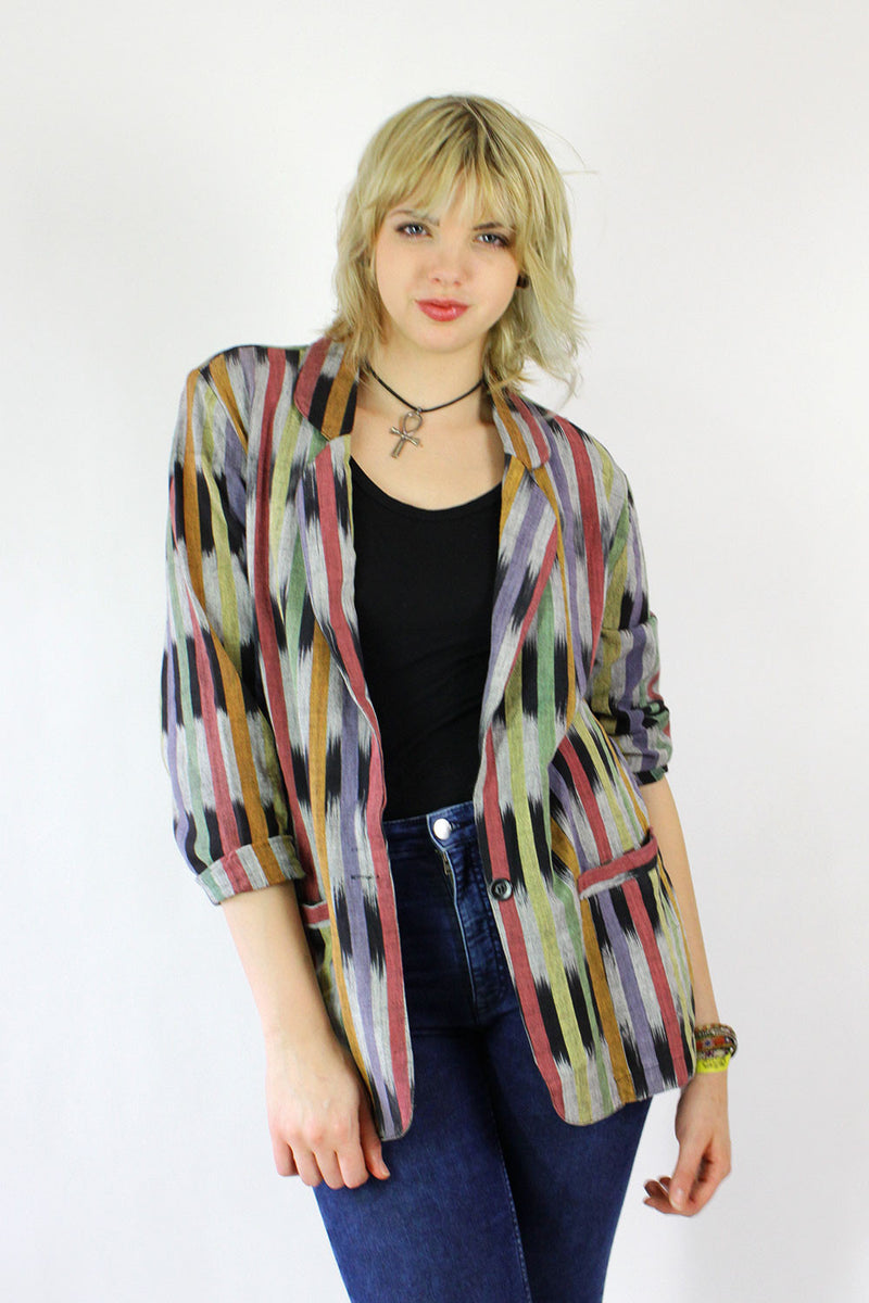 Southwestern Striped Blazer M