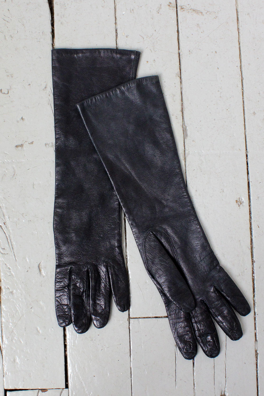 Black Leather Elbow Gloves