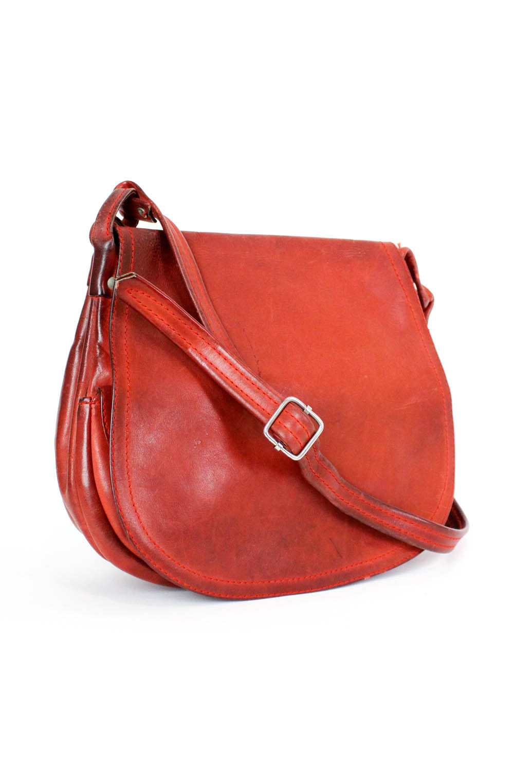 70s Rust Leather Saddle Bag