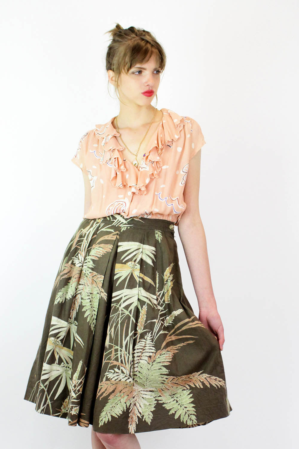 1950s Nature Print Cotton Pleated Skirt M