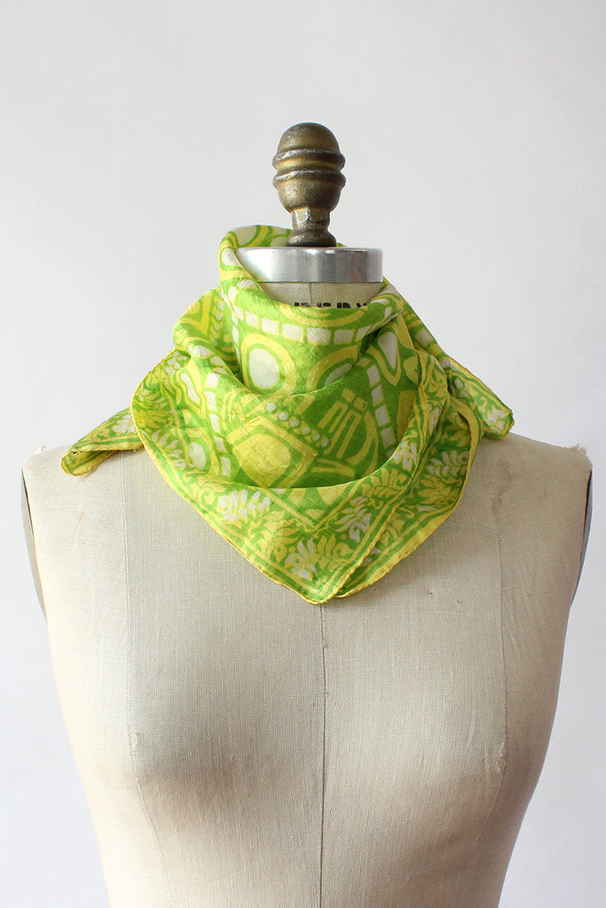 Lime Elephant Silk Scarf