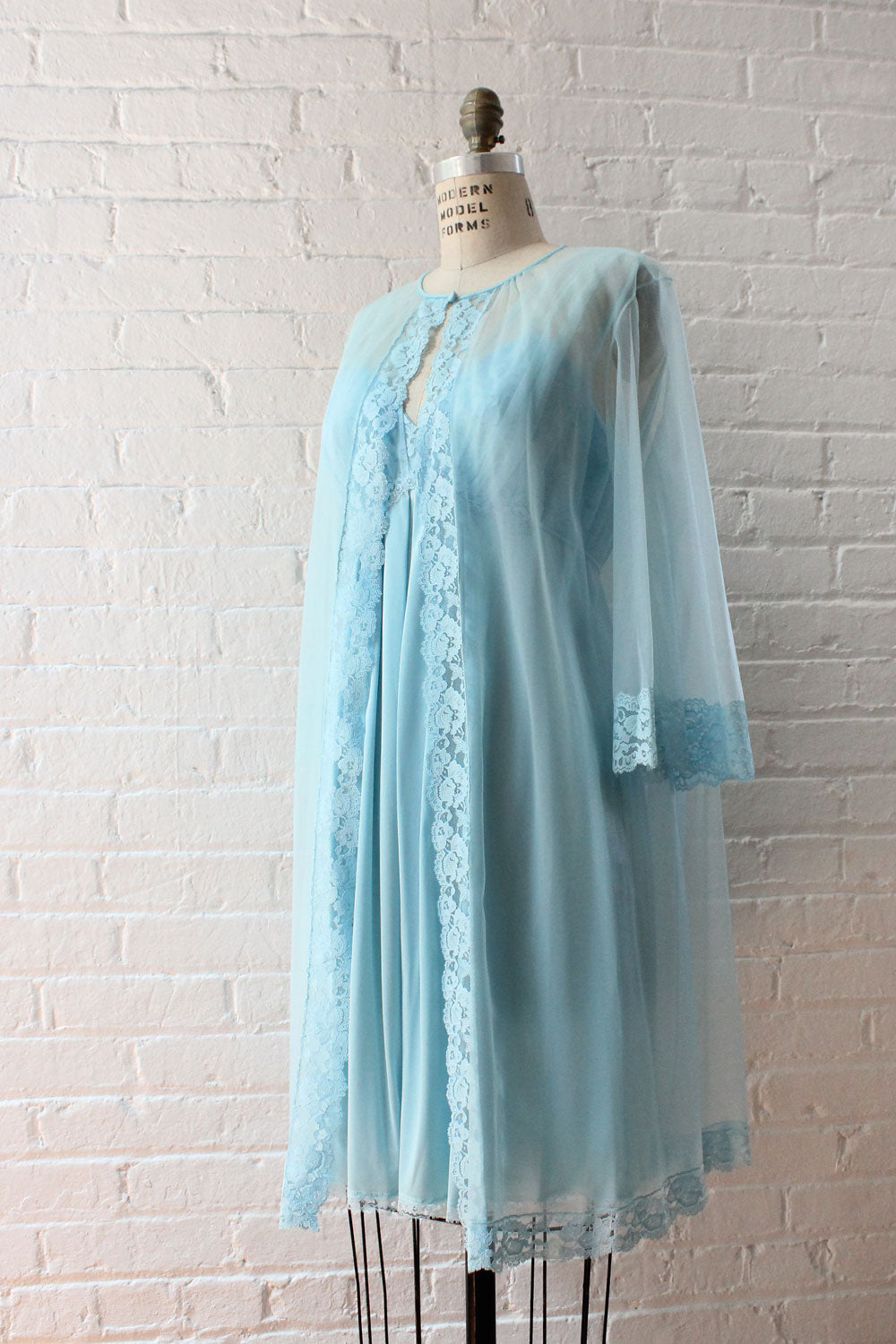 Soft Blue Peignoir Set M/L