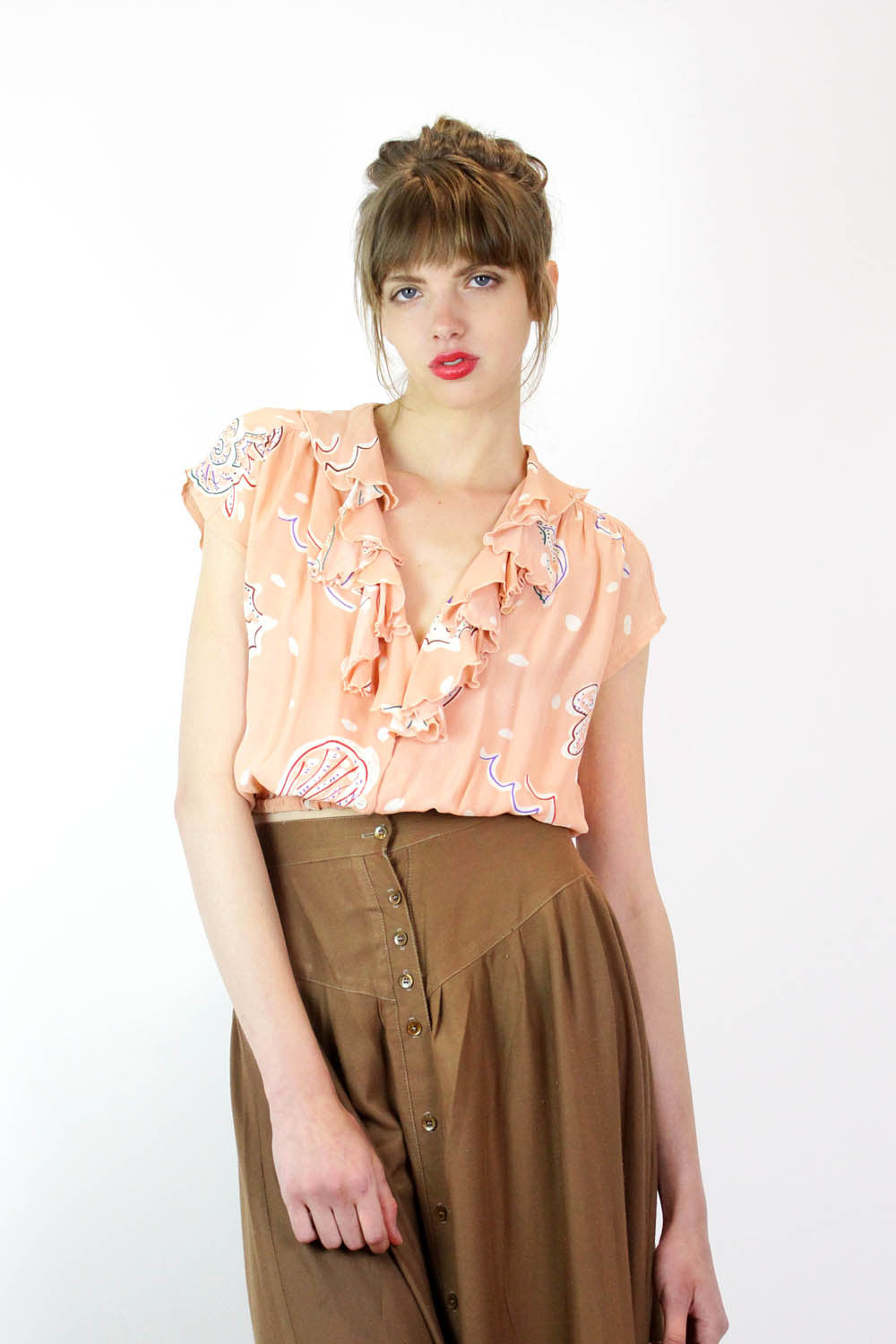 Cropped Crepe Seashell Blouse S/M
