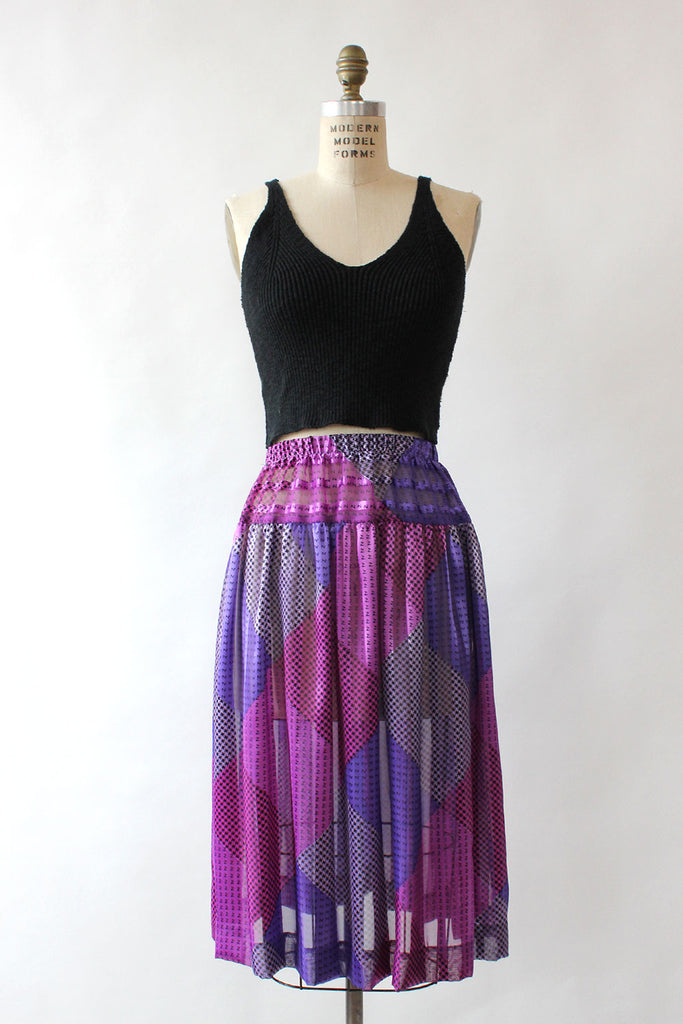 Mixed Print Sheer Skirt M/L