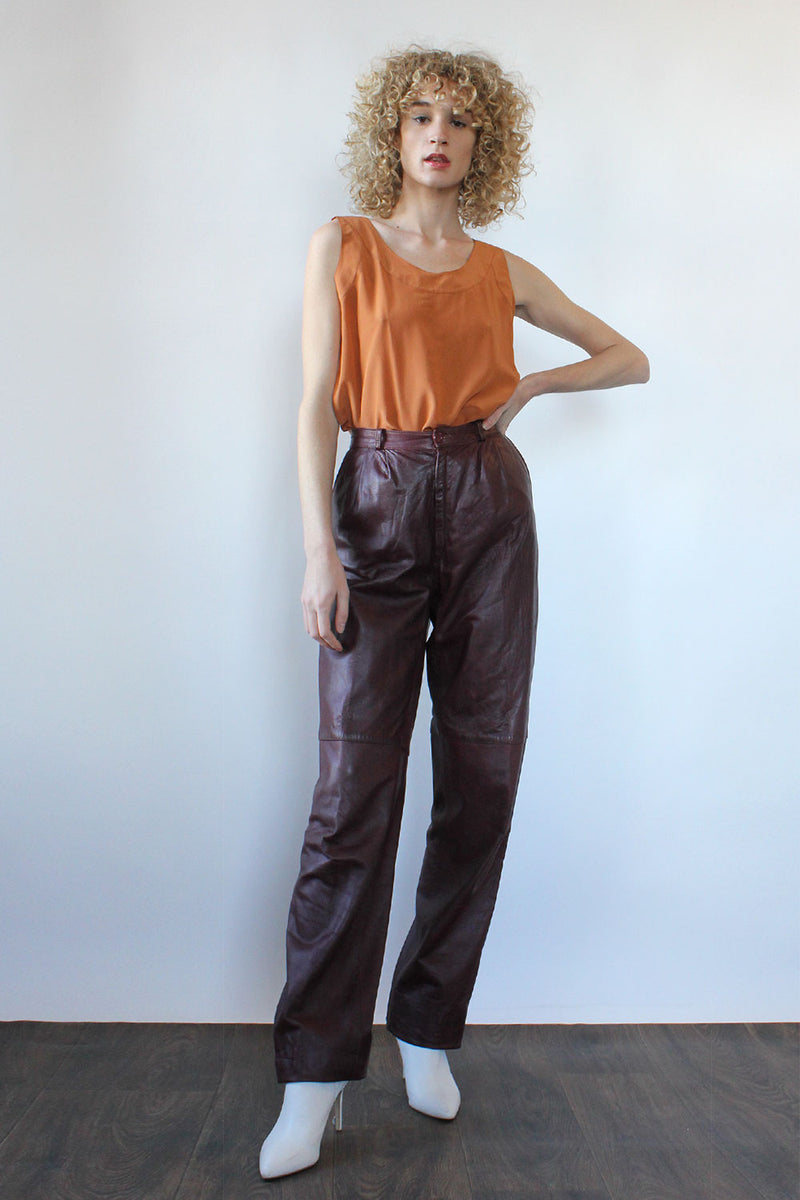 Merlot Leather Slacks M